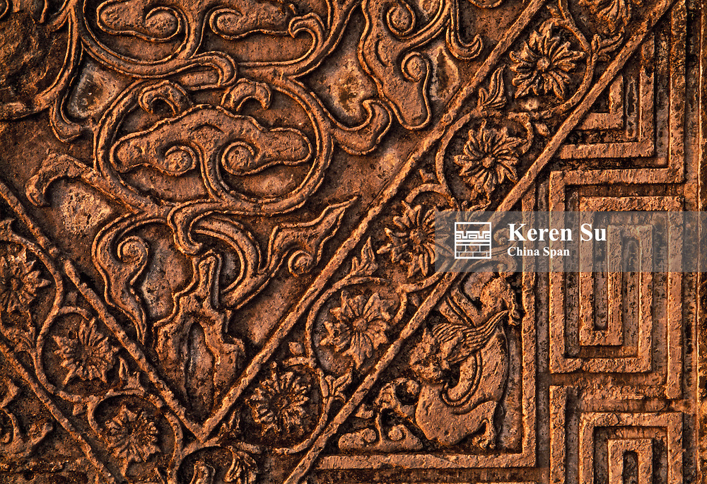 China, Anhui Province, Xidi, detailed stone carving on traditional architecture