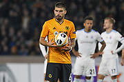 Ruben Neves of Wolverhampton Wanderers prepares to take a penalty during the Europa League match between Wolverhampton Wanderers and Slovan Bratislava at Molineux, Wolverhampton, England on 7 November 2019.