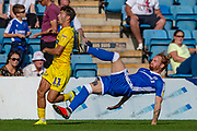 Wycombe Wanderers forward Scott Kashket (11) and Gillingham FC defender Connor Ogilvie (6) during the EFL Sky Bet League 1 match between Gillingham and Wycombe Wanderers at the MEMS Priestfield Stadium, Gillingham, England on 14 September 2019.