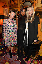 Left to right, JULIET ANGUS, PHOEBE HITCHCOX and AMANDA WAKELEY at the launch of GP Nutrition held at Annabel's, 44 Berkeley Square, London on 26th January 2016.