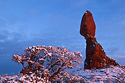 Balanced Rock, lit by the setting sun, is framed by the snow-covered landscape in Arches National Park, Utah.