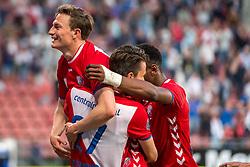 12-05-2018 NED: FC Utrecht - Heerenveen, Utrecht<br /> FC Utrecht win second match play off with 2-1 against Heerenveen and goes to the final play off / (L-R) Rico Strieder #6 of FC Utrecht score the 1-0, Lukas Gortler #27 of FC Utrecht, Gyrano Kerk #7 of FC Utrecht