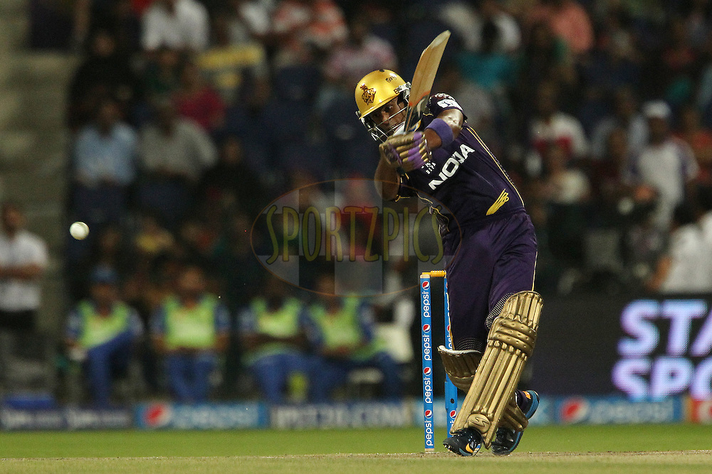 Suryakumar Yadav of the Kolkata Knight Riders during match 19 of the Pepsi Indian Premier League 2014 Season between The Kolkata Knight Riders and the Rajasthan Royals held at the Sheikh Zayed Stadium, Abu Dhabi, United Arab Emirates on the 29th April 2014<br /> <br /> Photo by Ron Gaunt / IPL / SPORTZPICS