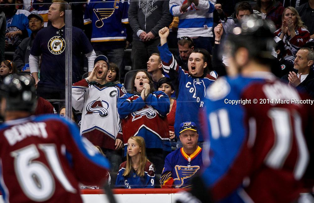 SHOT 3/8/14 4:19:21 PM - Colorado Avalanche fans cheer on their team against the St. Louis Blues during their regular season Western Conference game at the Pepsi Center in Denver, Co. The Blues won the game 2-1.<br /> (Photo by Marc Piscotty / &copy; 2014)