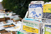 Old programmes being sold before the EFL Sky Bet Championship match between Norwich City and Hull City at Carrow Road, Norwich, England on 14 October 2017. Photo by John Marsh.