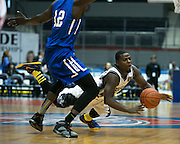 Raheem Singleton of the Razorsharks gets tangled up with Bamba Dioum of the Carolina Vipers during a game at the Blue Cross Arena on Saturday, December 6, 2014.