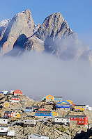 Colorful homes and buildings in Uummannaq, Greenland.