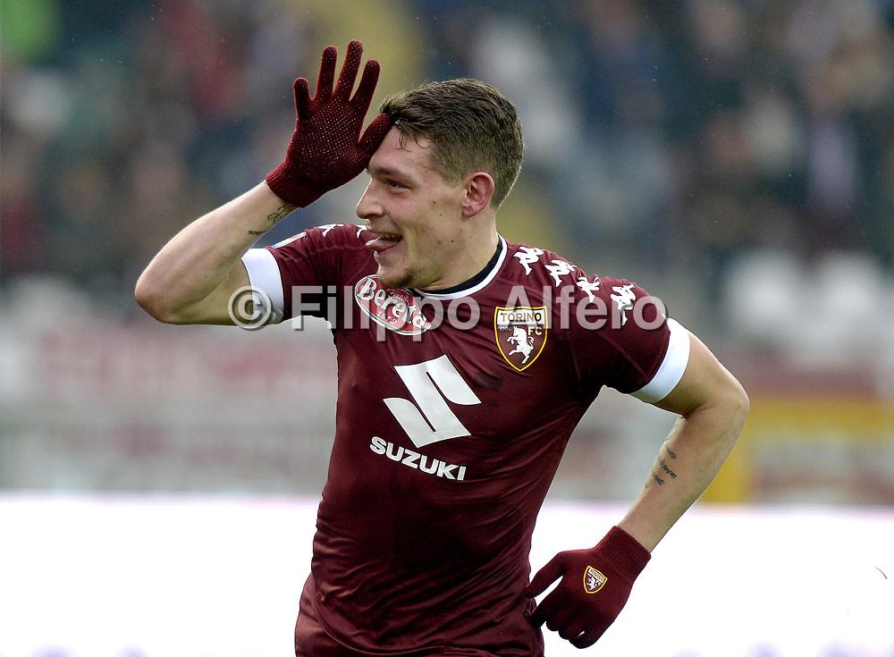 &copy; Filippo Alfero<br /> Torino-Pescara, Serie A 2016/2017<br /> Torino, 12/02/2017<br /> sport calcio<br /> Nella foto: Esultanza Andrea Belotti Torino dopo gol 5-0