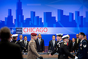 20.MAY.2012. CHICAGO<br /> <br /> PRESIDENT BARACK OBAMA AND NATO SECRETARY GENERAL ANDERS FOGH RASMUSSEN PARTICIPATE IN A NORTH ATLANTIC COUNCIL MEETING WITH HEADS OF STATE AND GOVERNMENT DURING THE NATO SUMMIT IN CHICAGO, ILL., MAY 20, 2012.  <br /> <br /> BYLINE: EDBIMAGEARCHIVE.CO.UK<br /> <br /> *THIS IMAGE IS STRICTLY FOR UK NEWSPAPERS AND MAGAZINES ONLY*<br /> *FOR WORLD WIDE SALES AND WEB USE PLEASE CONTACT EDBIMAGEARCHIVE - 0208 954 5968*