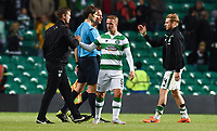 29/07/15 UEFA CHAMPIONS LEAGUE 3RD RND QUALIFIER 1ST LEG<br /> CELTIC v QARABAG FK<br /> CELTIC PARK - GLASGOW<br /> Celtic manager Ronny Deila (left) shakes hands with Leigh Griffiths at full-time