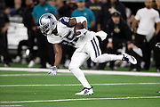 Dallas Cowboys wide receiver Noah Brown (85) regains his balance after catching a pass during the NFL week 13 regular season football game against the New Orleans Saints on Thursday, Nov. 29, 2018 in Arlington, Tex. The Cowboys won the game 13-10. (©Paul Anthony Spinelli)