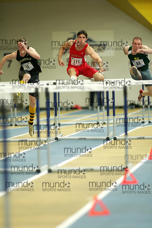 (Windsor, Ontario---11 March 2010) Jason Diston of University of Guelph Gryphons competes in the  competes in the pentathlon 60m hurdles at the 2010 Canadian Interuniversity Sport Track and Field Championships at the St. Denis Center. Photograph copyright Sean Burges/Mundo Sport Images. www.mundosportimages.com