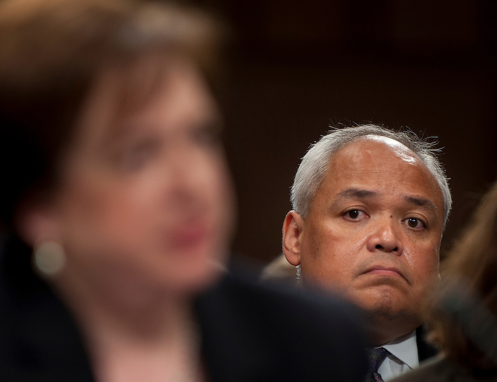 June 30, 2010 - Washington, District of Columbia, U.S., -  Thurgood Marshall Jr. looks on as Solicitor General Elena Kagan appears before the Senate Judiciary Committee for her third day of hearings on her nomination to be an associate justice of the Supreme Court.(Credit Image: © Pete Marovich/ZUMA Press)