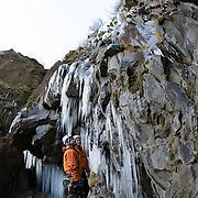 Freyr Ingi Björnsson and Viðar helgasson ísleið at Þórólfsárgili, Fljótshlíð.