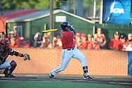 Mississippi's Preston Overbey (1) bats against Louisiana-Lafayette in an NCAA Super Regional game in Lafayette, La. on Saturday, June 7, 2014.    Louisiana-Lafayette won 9-5.
