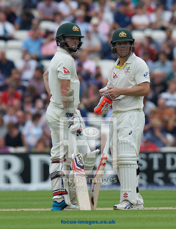 Batsmen Chris Rogers of Australia (left) and David Warner of Australia during the 5th Investec Ashes Test Match match at the Kia Oval, London<br /> Picture by Alan Stanford/Focus Images Ltd +44 7915 056117<br /> 20/08/2015