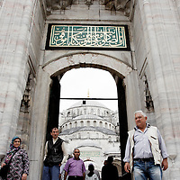 An entrance into the Blue Mosque in Istanbul, Turkey