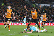 Derby County forward Chris Martin (9)  goes down under the challenge of Hull City midfielder Moses Odubajo (2)  during the Sky Bet Championship play-off 2nd leg match between Hull City and Derby County at the KC Stadium, Kingston upon Hull, England on 17 May 2016. Photo by Simon Davies.