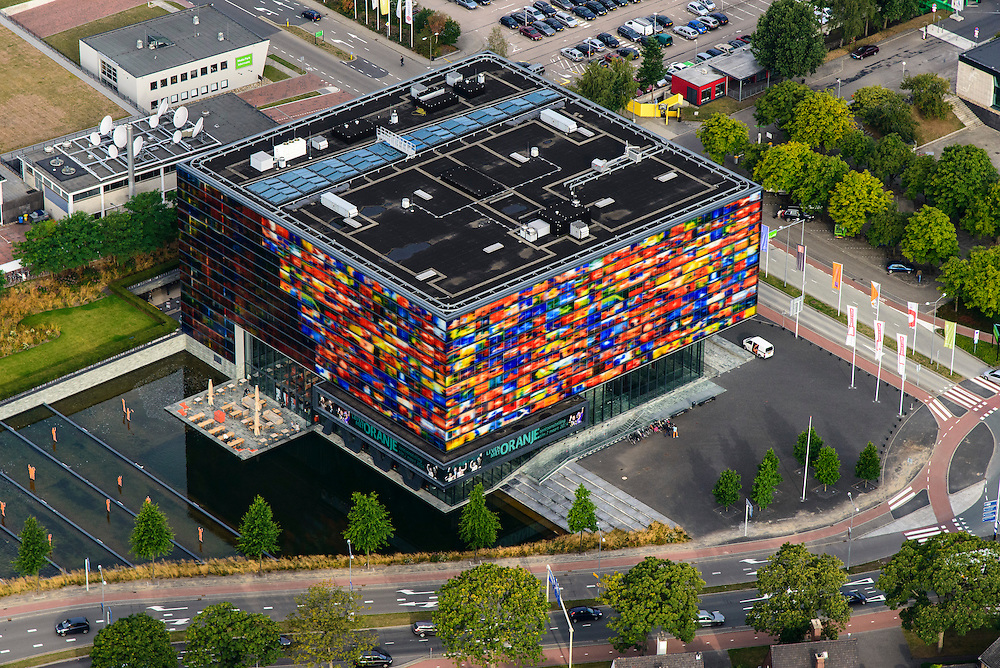 Nederland, Noord-Holland, Hilversum, 27-08-2013; Hoofdingang Mediapark naast Instituut voor Beeld en Geluid.<br /> Business park of the public and commercial broadcasting companies, the building of the Netherlands Institute for Sound and Vision<br /> luchtfoto (toeslag op standaard tarieven);<br /> aerial photo (additional fee required);<br /> copyright foto/photo Siebe Swart.
