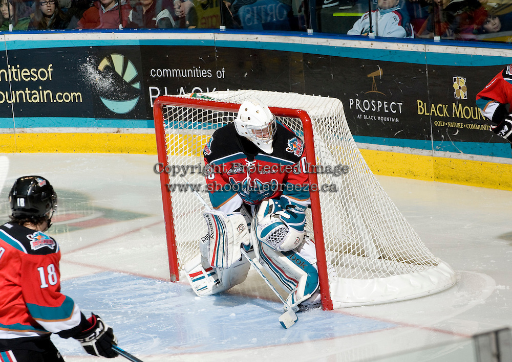 KELOWNA, CANADA, DECEMBER 2: Jordon Cooke #30 of the Kelowna Rockets defends the net as the Victoria Royals visit the Kelowna Rockets  on December 2, 2011 at Prospera Place in Kelowna, British Columbia, Canada (Photo by Marissa Baecker/Shoot the Breeze) *** Local Caption ***