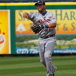 March 1, 2011; Clearwater, FL, USA; Detroit Tigers shortstop Jhonny Peralta (27) during a spring training exhibition game against the Philadelphia Phillies at Bright House Networks Field  Mandatory Credit: Derick E. Hingle