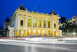 Night view of Hanoi Opera House with traffic Vietnam