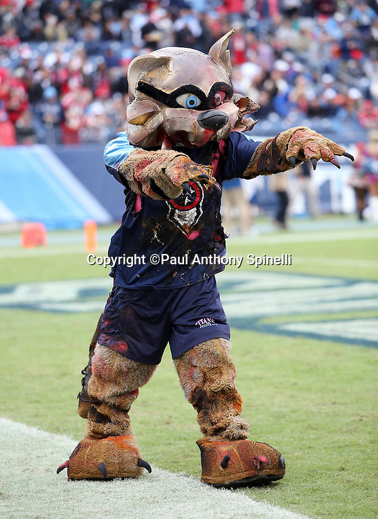 The Tennessee Titans mascot T-Rac acts like a zombie while dressed up in a Halloween costume during the Tennessee Titans 2015 week 7 regular season NFL football game against the Atlanta Falcons on Sunday, Oct. 25, 2015 in Nashville, Tenn. The Falcons won the game 10-7. (©Paul Anthony Spinelli)