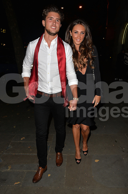 Ex On The Beach stars Graham Griffiths, Jordan Davies, Megan McKenna, Holly Rickwood, Jayden Robins and Megan Rees at Megan's birthday party at Cafe De Paris club in London, UK. 03/10/2015<br />BYLINE MUST READ : GOTCHAIMAGES.COM<br /><br />Copyright by &copy; Gotcha Images Ltd. All rights reserved.<br />Usage of this image is conditional upon the acceptance <br />of Gotcha Images Ltd, terms and conditions available at<br />www.gotchaimages.com