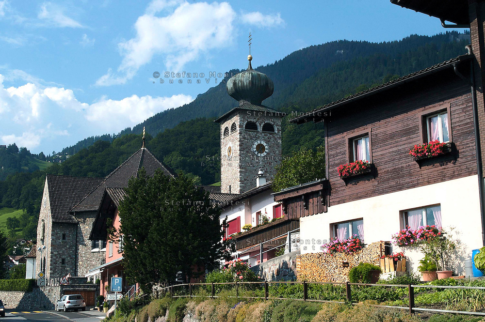 Liechtenstein  Triesenberg  June 2008.The Bell Tower  St. Joseph's Parish Church in Triesenberg.