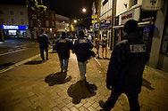 Members of the the Derby Street Pastor team on patrol in Derby city centre. Street Pastor was pioneered in London in January 2003 and Derby Street Pastors is a partnership of 25 local churches, Derbyshire Police, local council and various groups concerned with city centre street business and safety. Each Street Pastor team member works a minimum of one night a month, usually from 10pm to around 4am.