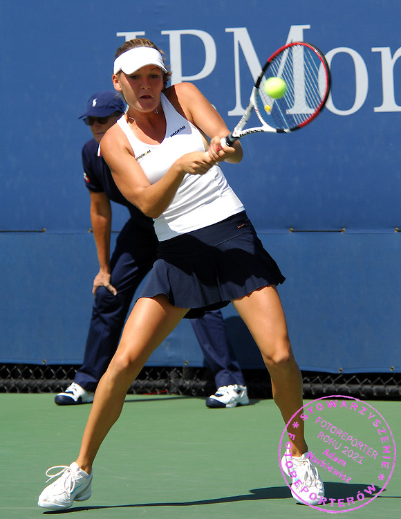 New York Flushing Meadow US Open Tennis 28.08.2008 D1.JAgnieszka Radwanska (POL) wins second round match.Photo Anne Parker Fotosports International..