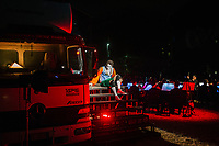 """ROME, ITALY - 27 JUNE 2017: Opera singer Murat Carlo Feola (in the role of Leporello) is seen here on stage performing in the """"Don Giovanni OperaCamion"""", an open-air opera performed on a truck in San Basilio, a suburb in Rome, Italy, on June 27th 2017.<br /> <br /> Director Fabio Cherstich's idae of an """"opera truck"""" was conceived as a way of bringing the musical theatre to a new, mixed, non elitist public, and have it perceived as a moment of cultural sharing, intelligent entertainment and no longer as an inaccessible and costly event. The truck becomes a stage that goes from square to square with its orchestra and its company of singers in Rome. <br /> <br /> """"Don Giovanni Opera Camion"""", after """"Don Giovanni"""" by Wolfgang Amadeus Mozart is a new production by the Teatro dell'Opera di Roma, conceived and directed by Fabio Cherstich. Set, videos and costumes by Gianluigi Toccafondo. The Youth Orchestra of the Teatro dell'Opera di Roma is conducted by Carlo Donadio."""