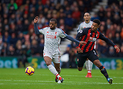 BOURNEMOUTH, ENGLAND - Saturday, December 8, 2018: Liverpool's Georginio Wijnaldum (L) and AFC Bournemouth's Lys Mousset during the FA Premier League match between AFC Bournemouth and Liverpool FC at the Vitality Stadium. (Pic by David Rawcliffe/Propaganda)