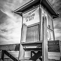 Lifeguard Tower 10 Newport Beach HDR picture.  Lifeguard hut #10 is located on 10th Street on  Balboa Peninsula in Newport Beach in Orange County Southern California.
