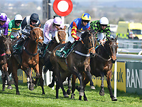 National Hunt Horse Racing - 2019 Randox Health Grand National Festival - Saturday, Day Three (Grand National Day)<br /> <br /> Harry Bannister on no 19 Vive Le Roi, leads the field early on in the 1.45 Gaskells Handicap Hurdle (Grade 3) (Class 1)<br /> at Aintree Racecourse.<br /> <br /> COLORSPORT/WINSTON BYNORTH