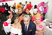 Repro Free.  Baz Ashmawy guest judge with finalists Mary Lee, Gort and and Elaine Kellerher Kilgarvan at the g Hotel Best Dressed competitions at the Galway Races. Photo: Andrew Downes, xposure