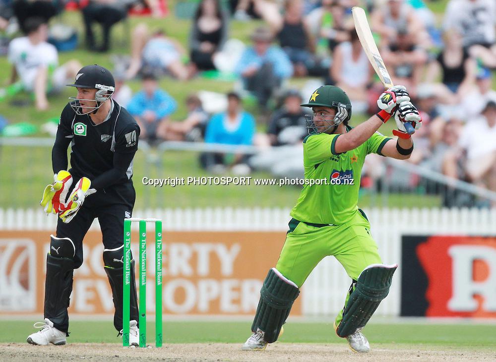 Pakistan's Ahmed Shehzad batting during his century innings at the 5th ODI, Black Caps v Pakistan, One Day International Cricket. Seddon Park, Hamilton, New Zealand. Wednesday 3 February 2011. Photo: Andrew Cornaga/photosport.co.nz