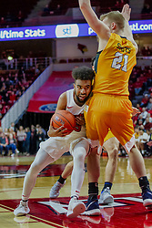NORMAL, IL - February 05: Keyshawn Evans runs into the paint and Derrik Smits during a college basketball game between the ISU Redbirds and the Valparaiso Crusaders on February 05 2019 at Redbird Arena in Normal, IL. (Photo by Alan Look)
