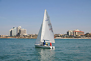 Sail boat in the Mediterranean Sea. Photographed in Israel, Herzlya