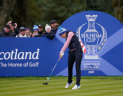 Auchterarder, Scotland, UK. 14 September 2019. Saturday afternoon Fourballs matches  at 2019 Solheim Cup on Centenary Course at Gleneagles. Pictured; Georgia Hall of Team Europe plays tee shot on the 11th hole. Iain Masterton/Alamy Live News