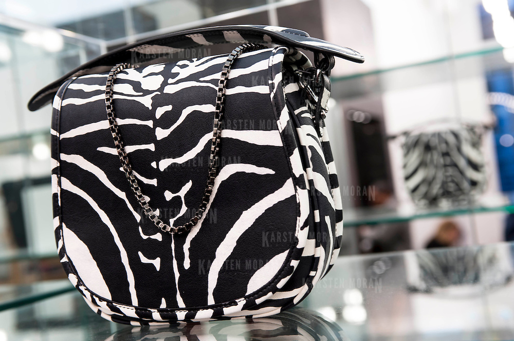 December 5, 2013 - New York, NY: Carven, the French fashion brand, has opened a New York outpost at 83 Mercer Street in SoHo (Soft open Dec. 4, full open Dec. 5). Pictured here, a detail of a zebra-print purse from the Fall-Winter 2013 collection.  CREDIT: Karsten Moran for The New York Times