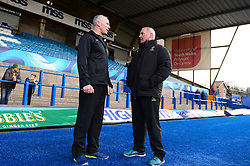 Paddy Anson head of strength and conditioning speaks with  Worcester Warriors' director of rugby, Gary Gold - Mandatory by-line: Dougie Allward/JMP - 04/02/2017 - RUGBY - BT Sport Cardiff Arms Park - Cardiff, Wales - Cardiff Blues v Worcester Warriors - Anglo Welsh Cup