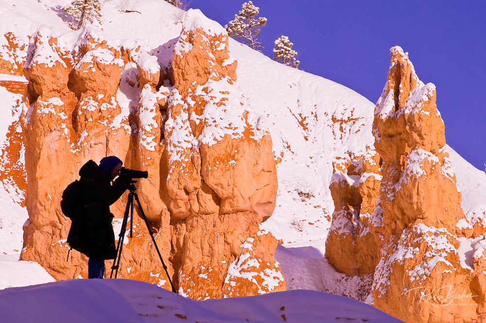 Photographer shooting fresh powder on hoodoos along the Queens Garden Trail, Bryce Canyon National Park, Utah