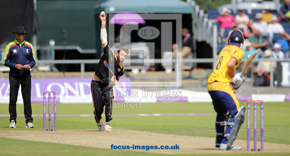 Liam Plunkett (c) of Yorkshire Vikings bowling during the Royal London One Day Cup match at Emirates Riverside, Chester-le-Street<br /> Picture by Simon Moore/Focus Images Ltd 07807 671782<br /> 31/07/2016
