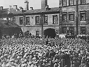 Alexander Kerensky, appointed Minster for War in the newly formed socialist-liberal coalition government in May 1917, making a speech to soldiers in the battalion of the Smenovsky Guards before leaving for the front, affirming the necessity of a discipline of iron and resuming the offensive to aid French allies, photograph by Karl Bulla, 1855-1929, published in L'Illustration no.3877, 23rd June 1917. Picture by Manuel Cohen