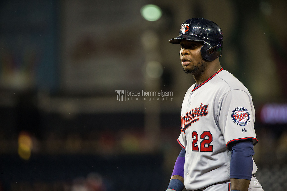 WASHINGTON, DC - APRIL 22: Miguel Sano #22 of the Minnesota Twins looks on against the Washington Nationals on April 22, 2016 at Nationals Park in Washington, DC. The Nationals defeated the Twins 8-4. (Photo by Brace Hemmelgarn) *** Local Caption *** Miguel Sano