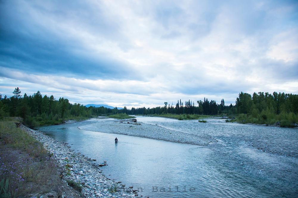 Fly fishing North Fork Flathead River, Montana.
