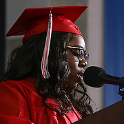 Conrad Schools of Science graduate india Dennis addresses students and family during Conrad commencement exercises Saturday, June 06, 2015, at The Bob Carpenter Sports Convocation Center in Newark, Delaware.