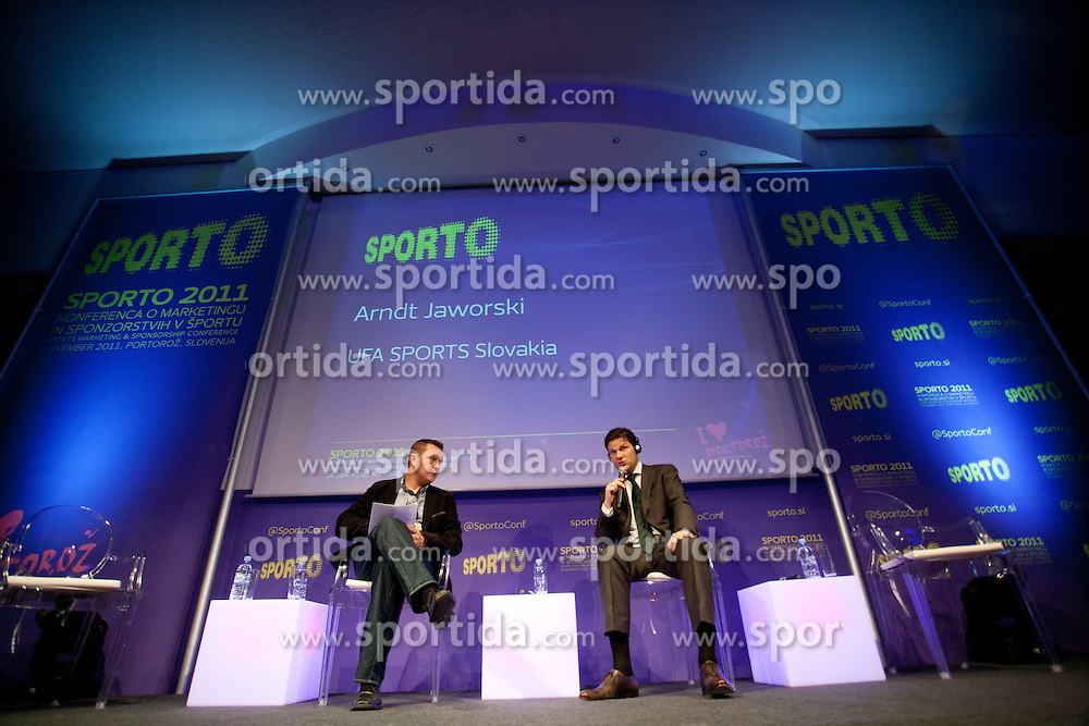 Tomaz Ambrozic od S.V. RSA and  Arndt Jaworski of UFA Sports during sports marketing conference Sporto 2011, on November 21, 2011 in Hotel Slovenija, Portoroz / Portorose, Slovenia. (Photo By Vid Ponikvar / Sportida.com)