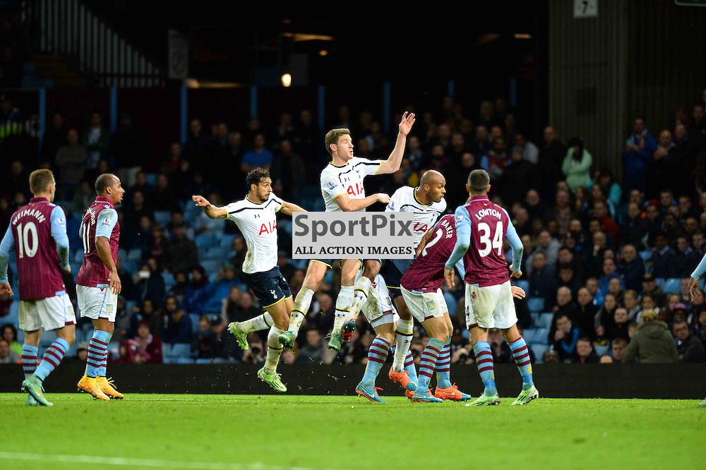 Nacer Chadli scores the leveler in the 2-1 win over Aston Villa